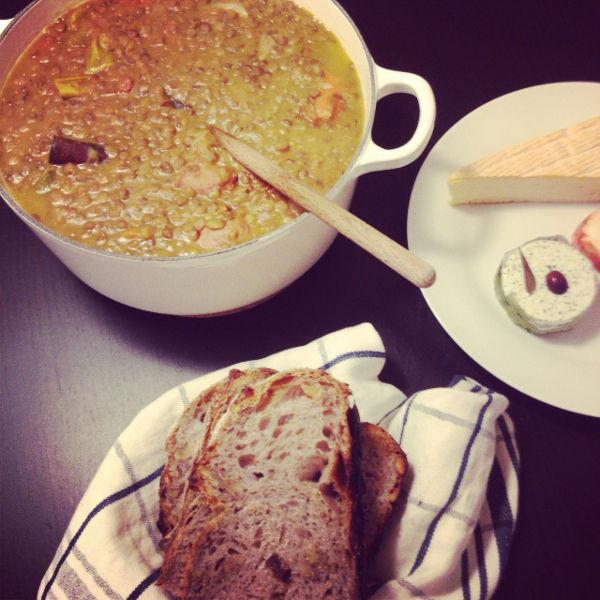 Lentilles aux saucisses - Fransk korvgryta med gröna linser